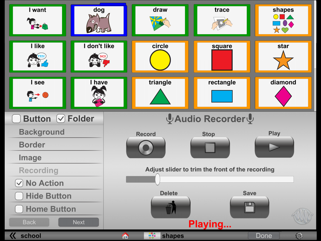 Use the slider in the middle to cut out the dead space at the beginning of the recording.