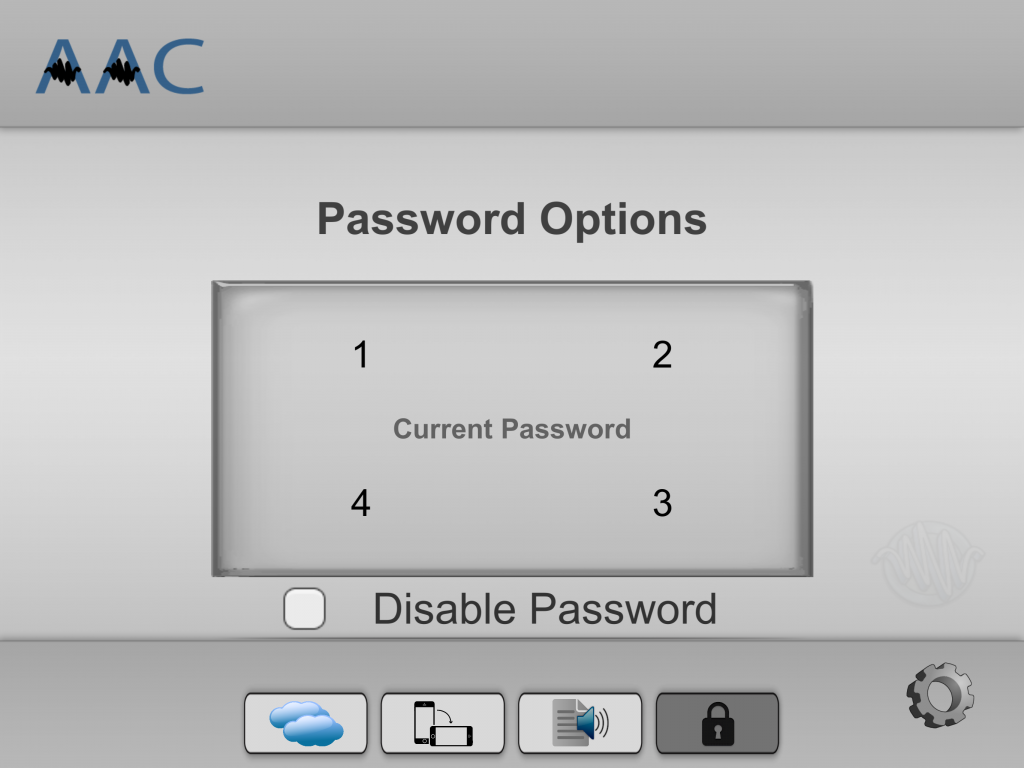 """Press the """"Disable Password"""" button, under the current password buttons."""